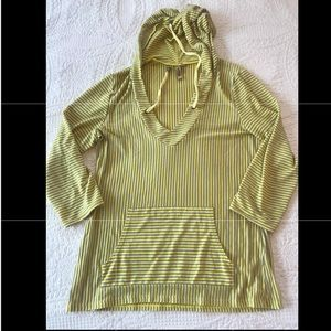 Tops - Yellow and grey striped drawstring hoodie